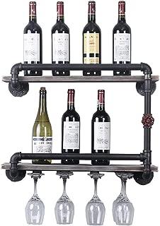TMGY Industrial Wine Racks Wall Mounted with 4 Stem Glass Holder,2-Tiers Rustic Metal Hanging Wine Holder,24in Wall Mount Bottle Holder,Pipe Shelves Kitchen/Living Room/Home Wood Wine Shelf