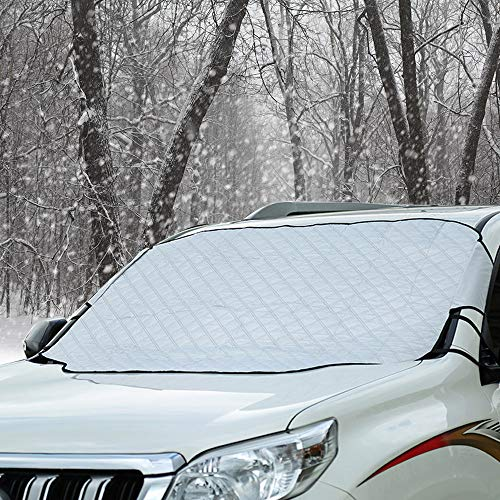Windshield Snow Ice Cover Winter Frost Cover for Car Wind-Proof Keeps Ice Snow Frost Off Fits Most...