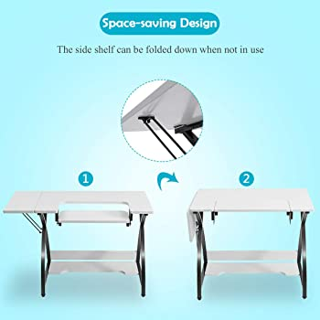 Costway Sewing Craft Table, Adjustable Multifunction Crafting Machine Desk with Storage, Sturdy Computer Desk with Wh...