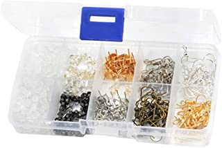 MagiDeal 440 Pieces Earring Making Supplies Kit with 2 Colors Earring Hooks, 3 Styles Earring Backs, 2 Colors Earrings Posts Flay Pad and Earring Making Findings for Woman Girls Adult Handmade Jewelry Kit