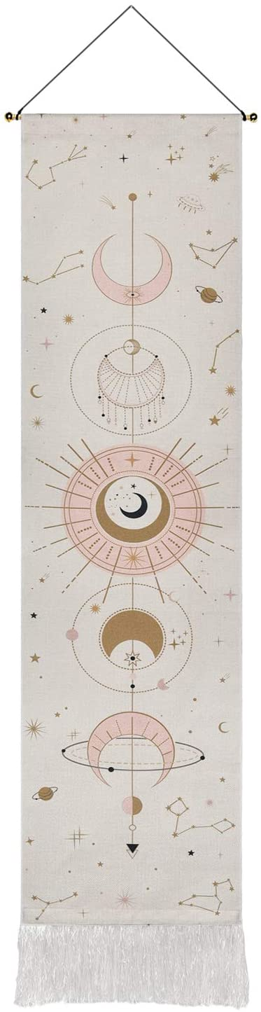 Black, 12.8 x 51.2 inches Moon Phase Tapestry Moon Tapestry Wall Hanging Art Bohemian Tapestries Cotton Linen Tapestry for Room