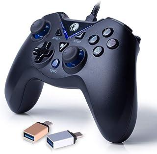 IFYOO V-one 有線USB接続ゲームパッド [PCコンピューターWindows 10/8/7/XP,Steam & Android & PS3]対応コントローラー - [ブルー色+OTG変換器]