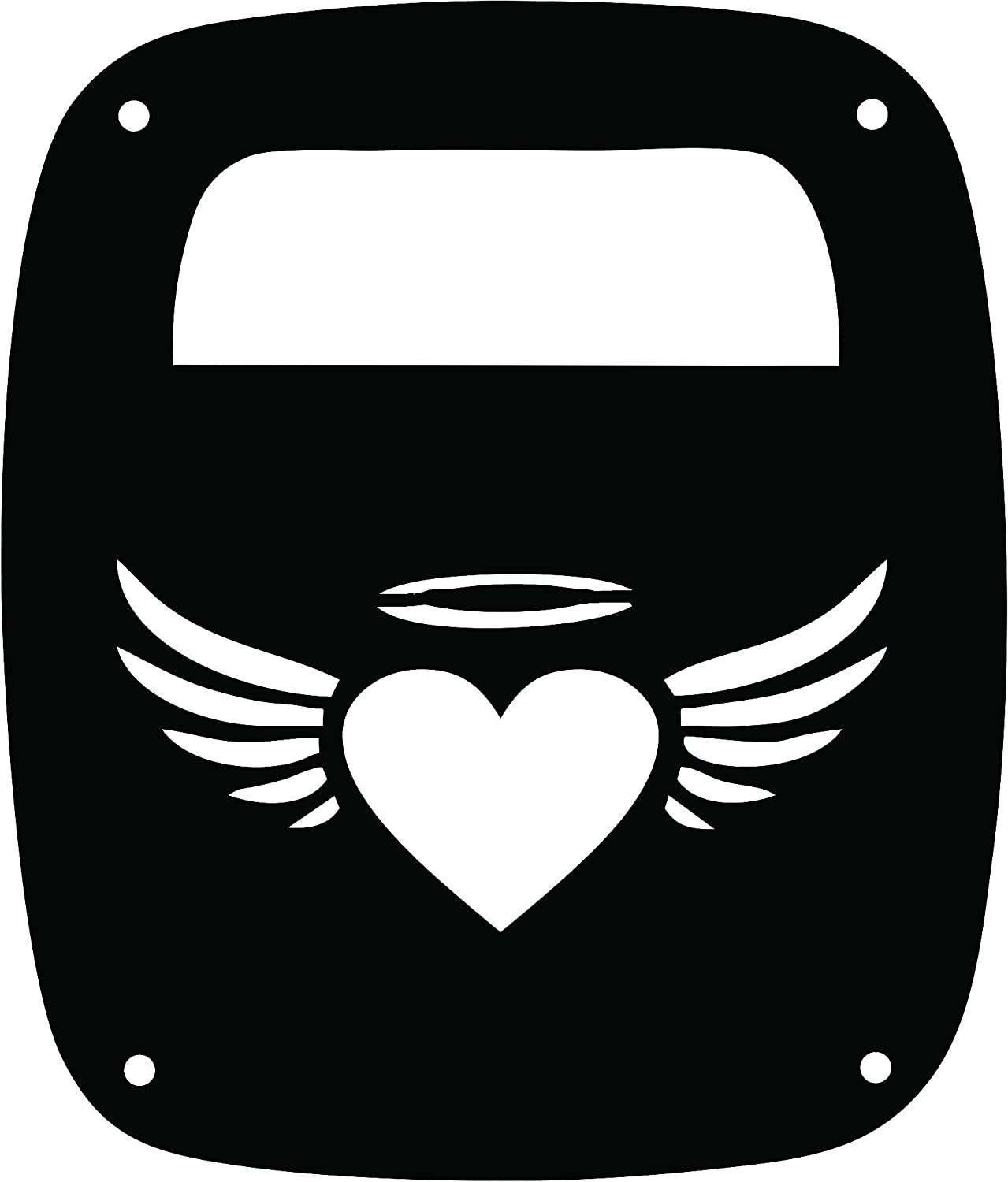 JeepTails Angel Heart Tail lamp Light Covers Compatible with Jeep Wrangler YJ and TJ Set of 2 Black