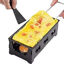 Adaskala Raclette antiadhésive Grill Set Fromage Melter Pan avec Spatule Manche en Bois Pliable Raclette de Fromage fondu ...