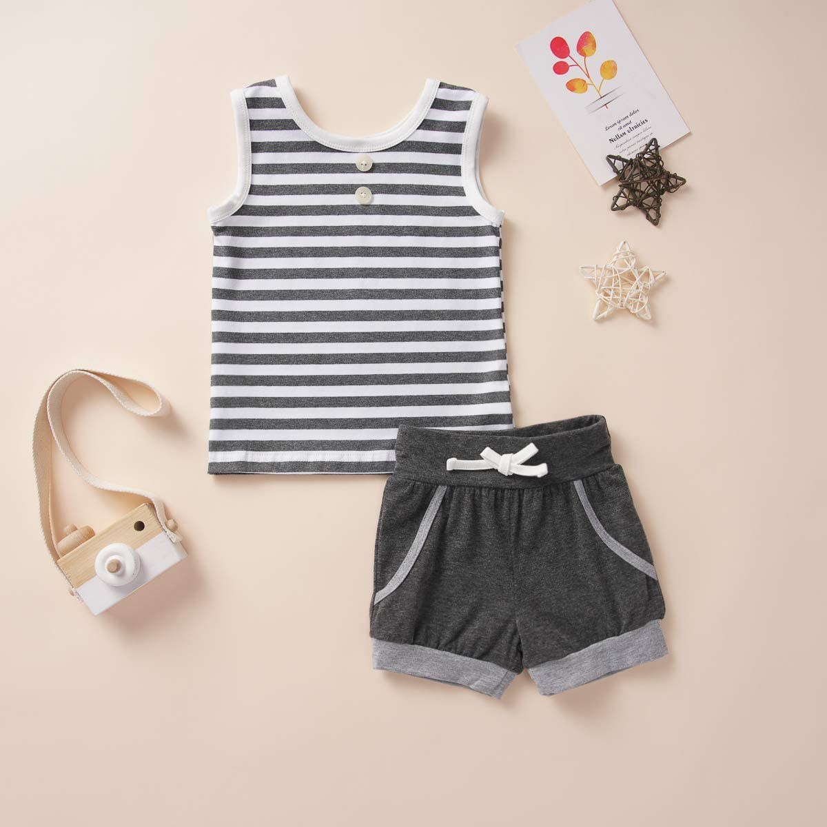 Infant Baby Boys Summer Casual Clothes Set Beaches Love Me Vest Tops Shorts