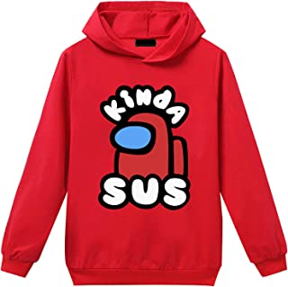 Queenromen Unisex Kinder Game Among Us Hoodie mit Hose 2-teiliges Set Anzug Imposter Fans Geschenk Casual Pullover Hose Anzug