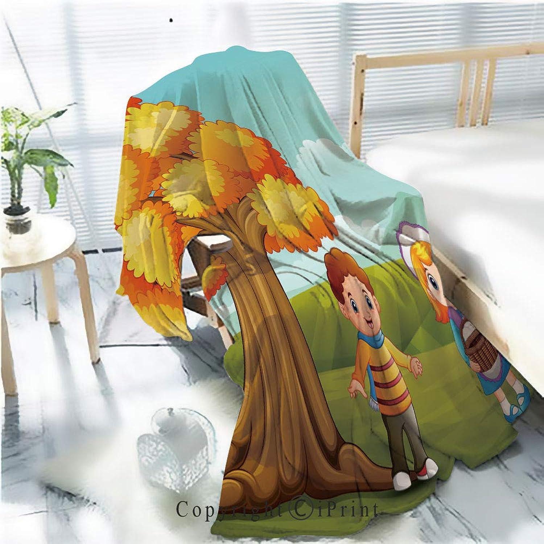 Printed Soft Blanket Premium Blanket,Cute Three Kids in Farm Background Microfiber Aqua Blanket for Couch Bed Living Room,W59.1 xH78.7