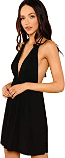SheIn Women's Sexy Halter Deep V Neck Backless A Line Flared Dresses