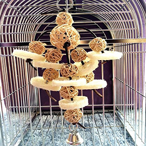 Bird Toys Foraging Star Bird Chew Toy Super Shredder Ball- Will Keep Your Bird Busy for Weeks Foraging for Hidden Treasures Parrot Cage Toys Cages Shredder Cockatiel Conure (1Rattan Chew Ball)