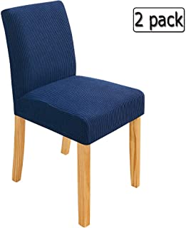 Deisy Dee Stretch Chair Cover Slipcovers for Counter Height Chairs, Bar Stool Chair Covers Pack of 2 C179 (Navy Blue)
