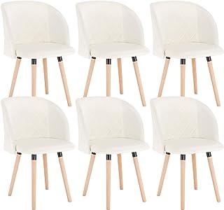EUGAD Set de 6 Sillas Comedor Vintage Diseño Sillas Nórdicas Moderna de Terciopelo Patas de Madera Silla de Cocina Silla Tulip Crema