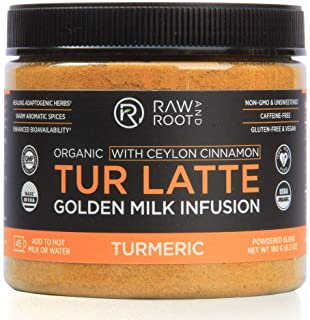 TUR LATTE - USDA ORGANIC CERTIFIED GOLDEN MILK POWDER WITH CEYLON CINNAMON - Turmeric Latte Mix - Superfoods - Anti-Inflam...