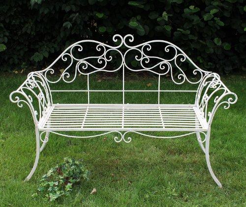 DanDiBo Gartenbank Romance Weiß 111183 Bank 146 cm aus Schmiedeeisen Metall Sitzbank - 9