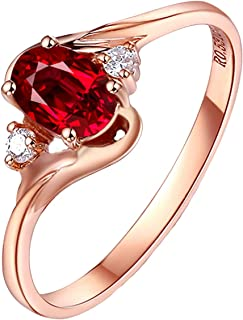 Women 18K Rose Gold Ring, 0.531CT Oval Shape Ruby Diamond Ring Bridal Anniversary Ring
