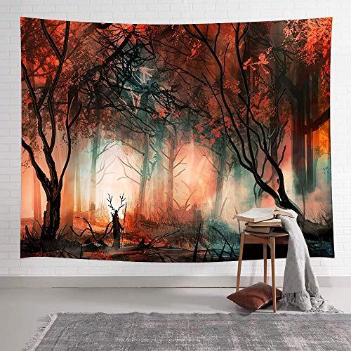 Bosque de hongos castillo psicodélico tapiz de árbol mariposa colorida colgante de pared...