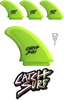 Catch Surf Odysea Safety Edge Quad Fin Set, Lime, One Size