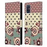 Head Hülle Designs Rosa Creme Blumen Und Punkte Leder Brieftaschen Huelle kompatibel mit Samsung Galaxy A51 (2019)