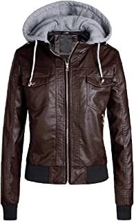 Womens Casual Detachable Hood Stand Collar PU Leather Jacket Coats