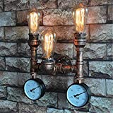 ,Wall Sconces 3 Light with Pressure Gauge Industrial Vintage Wall Light Water Pipe