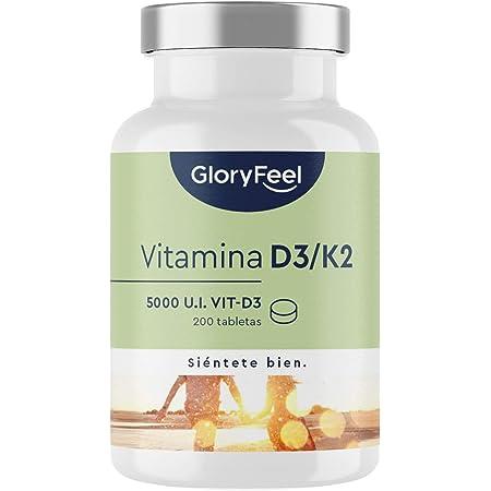 Vitamina D3 5.000 UI + Vitamina K2 MK-7 200µg - 200 Tabletas - Apoya la absorción del calcio, huesos, músculos, articulaciones y sistema arterial - K2 de 99,7+% All Trans MK7 (K2VITAL® de Kappa)