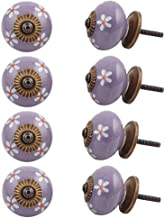 Indian-Shelf Handmade Ceramic Flower Wardrobe Knobs Drawer Pulls Kitchen Handles(Purple, 1.5 Inches)-Pack of 8