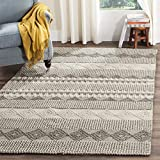 Safavieh Natura Collection NAT102A Handmade Moroccan Boho Tribal Wool & Cotton Area Rug, 5' x 8', Grey / Ivory