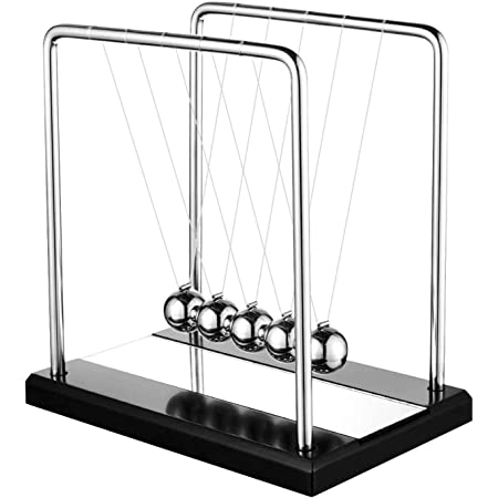 DOTSOG Oversized Newton's Cradle, Desk Table Decor Metal Pendulum Ball Newton Ball Physics Science Pendulum Steel Balance Bal l for Office Physics Teacher Toys- with Mirror