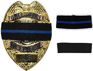 Bands of Mourning - Mourning Bands for Badges - Police - 2 Pack - 1 Blue Line & 1 Black - 2 Mourning Bands Set - Show Unity for a Fallen Officer - Blue Lives Matter