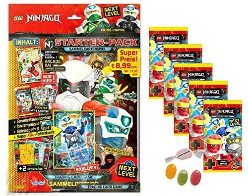 Blue Ocean Lego® Ninjago™ Serie 5 Next Level -1x Starter + 5 Booster Tüten Trading Cards zusätzlich erhalten Sie 1 x Fruchtmix Sticker-und-co Bonbon