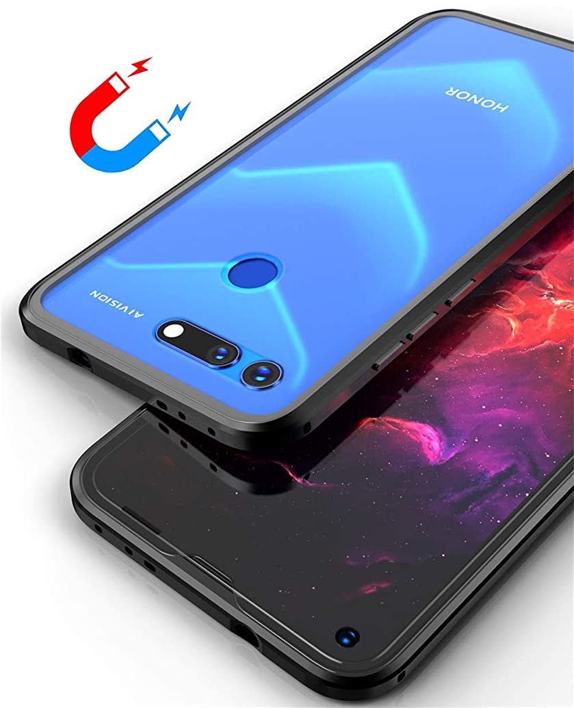 FUNIT Compatible Honor View 20 Case Magnetic Adsorption Metal Bumper Front and Back 9H Tempered Glass Ultra Clear Slim Full Protection Cover for Huawei Honor View 20/Honor V20 (Black)