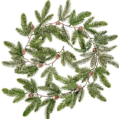 Whaline 4.9ft Christmas Garland Artificial Pine Garland with Pine Cones Frosted Pinecone Vine Snow Flocked Faux Hanging Garland for Indoor Outdoor Home Wedding Winter Party Dinner Door Frame Decor