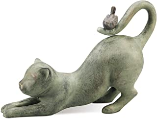 SPI Home 33431 Crouching Cat with Bird Sculpture