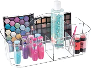 mDesign Plastic Makeup Storage Organizer Caddy Tote - Divided Basket Bin, Handle for Eyeshadow Palettes, Nail Polish, Makeup Brushes, Cosmetic and Shower Essentials - Large - Clear
