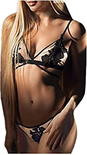 comprar comparacion Reooly❀Las Mujeres Bordado Apliques Ropa Interior Atractiva de la Ropa Interior más del tamaño Sujetador Tanga S-3XL