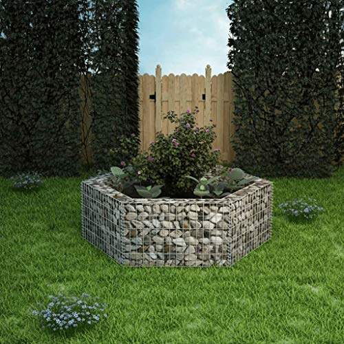 Buyounger Hexagonal Gabion Raised Bed 160x140x50 cm