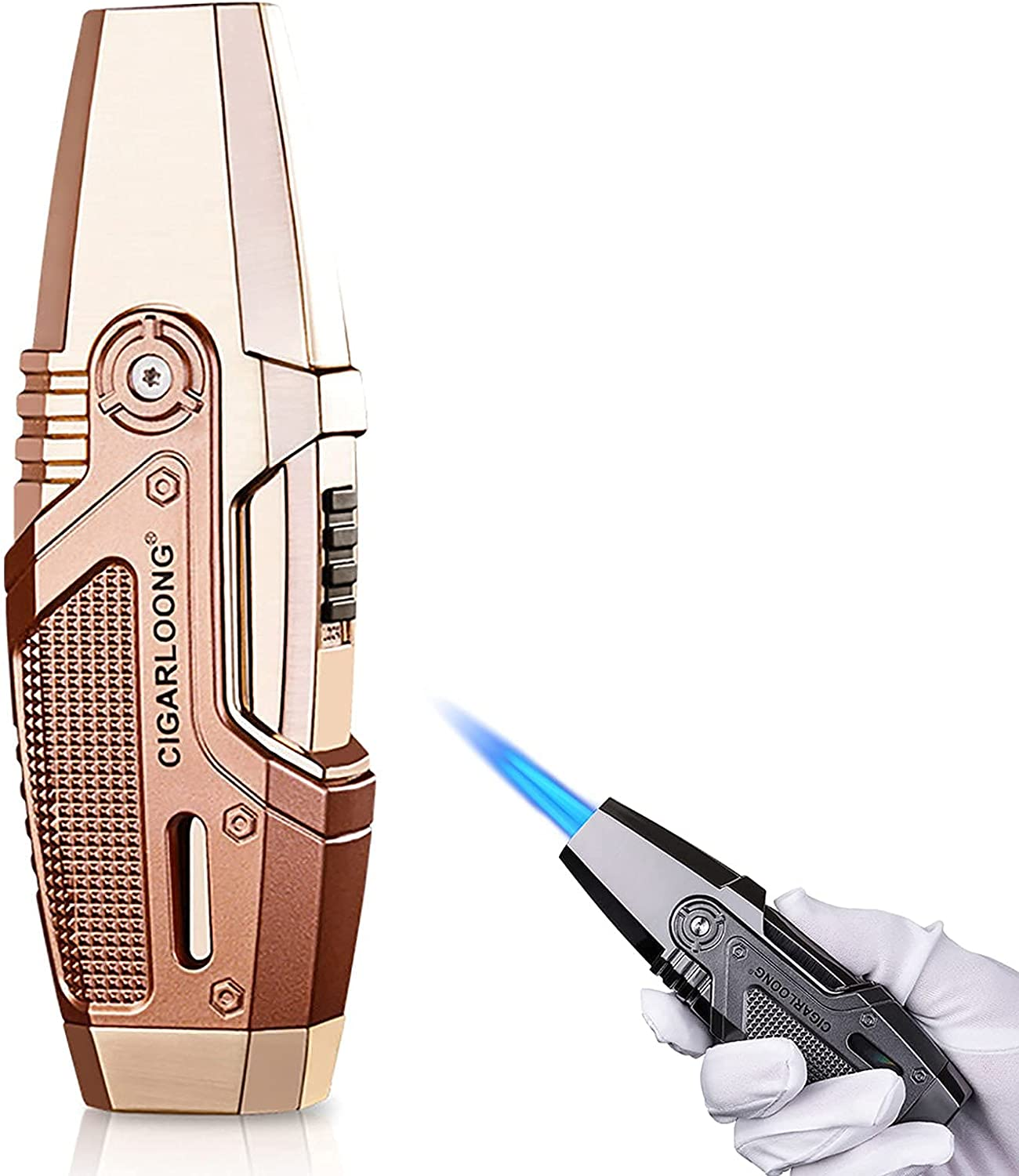 PLUY Titanium Alloy Cigar Austin Mall Lighter Torch Jet B Max 48% OFF 2 Flame Refillable