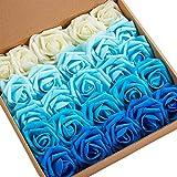 N&T NIETING Artificial Flower, 25pcs Real Touch Gradient Blue Artificial Foam...