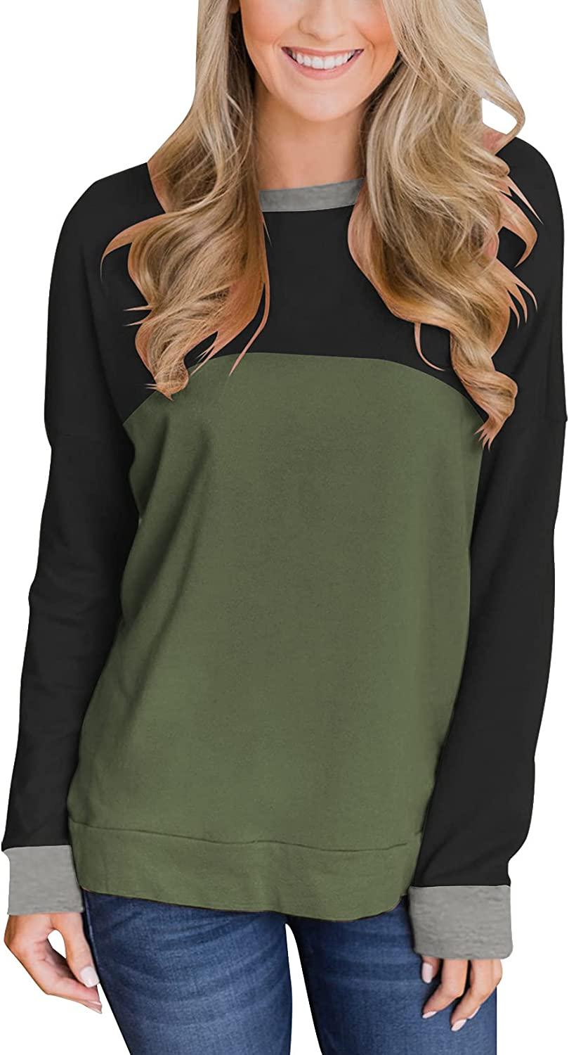 Dailiup Women's Color Block Long Sleeve Tunic Tops Casual Crew Neck Pullover Sweatshirts Loose Blouses