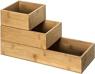111530 Porte ustensiles bambou et 3 pots epices inox