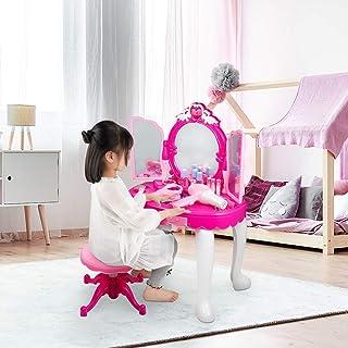 Cocoarm Coiffeuse pour enfant avec éclairage tabouret et tabouret - Coiffeuse avec lumière et sèche-cheveux - Convient pou...