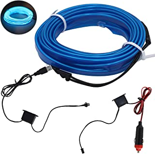 shunyang EL Wire Neon Lights For Cars interior exterior Cold Wire LED Lights DIY Decoration Strip Lights Blue 5M 197 Inches 1Pcs