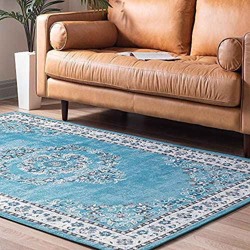 Rugs.com Lucerne Collection Area Rug – 4' x 6' Blue Low-Pile Rug Perfect for Entryways, Kitchens, Breakfast Nooks, Accent Pieces