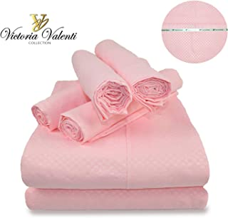 Victoria Valenti Embossed Sheet Set with 4 Pillow Cases, Double Brushed and Ultra Soft with Deep Pockets for Extra Deep Mattress, Microfiber, Hypoallergenic Queen Pink