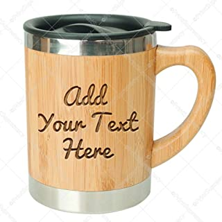 Personalized Express Custom Engraved in USA Stainless Steel Bamboo Coffee Mug Insulated with Lid BPA free eco-friendly Gift Box Ready