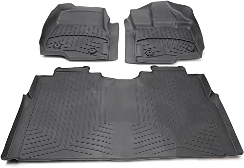 2021 Mallofusa Rubber Slush Floor Mats Set Front Rear All Weather Floor Carpet Liner new arrival Compatible for 2017 Ford F-150 F-250 F-350 F-450 2021 Supercrew sale