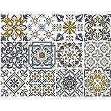 decalmile 12 Piezas Adesivi per Piastrelle 15x15cm Blu e Giallo Marocchino Mattonelle Parete in PVC Impermeabile Autoadesivo Decorazione Bagno Cucina