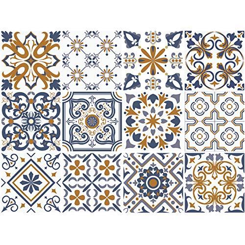 decalmile 12 Stück Fliesenaufkleber 15x15cm Blau und Gelb Marokkanische Wandfliese Fliesensticker Küche Badezimmer Deko