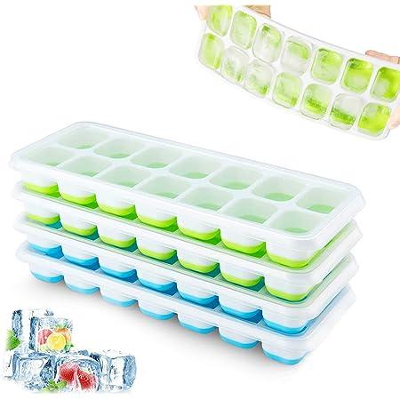 Lot de 4 bacs à glaçons en silicone avec couvercle, peu encombrant et empilable, certifié LFGB et sans BPA, bacs à glaçons carrés faciles à retirer Bleu/vert