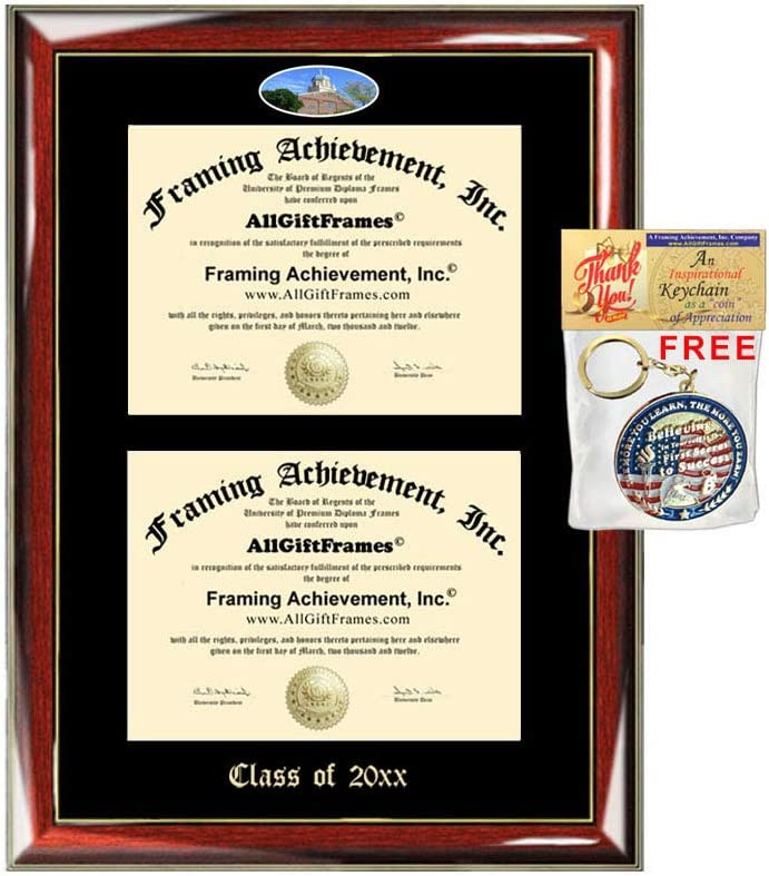 Allgiftframes Double Certificate Frame University Of Dayton School Embossed Fisheye Campus Photo Dual School Two College Majors Custom Diploma Holder