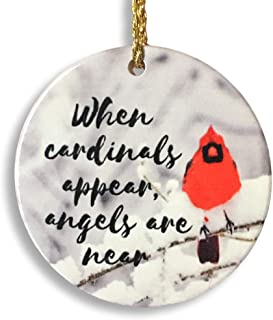 BANBERRY DESIGNS Memorial Cardinal Ornament - When Cardinals Appear, Angels are Near Saying - Winter Cardinal Remembrance Ornament